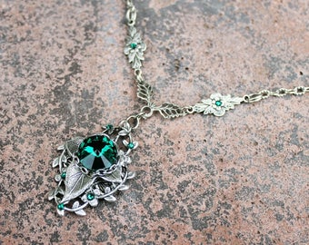 Swarovski emerald green leafy necklace