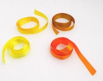 Yellow satin ribbon, 15 mm, double sided, by the metre, topaz, lemon, orange, bright yellow, satin trim, seam binding, wreath, hair ribbon