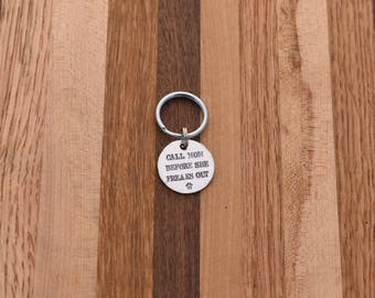 Call Mom Before She Freaks Out - Custom Pet ID Tag - Handstamped aluminum - Dog ID Tag - Cat ID Tag - Small, Medium, Large