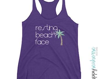 Resting Beach Face humorous racerback tank top