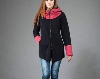 Hoodie, Long hoodie, Women's Hoodie, Warm hoodie, Cotton Hoodie, Black & Raspberry Hoodie, Unusual Design,Clothes Navaho