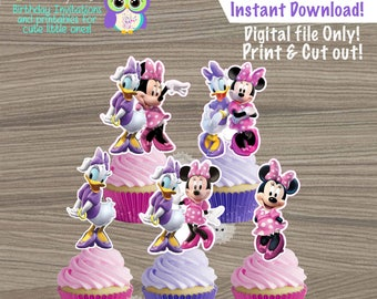 Minnie Mouse Cupcake toppers Minnie Mouse Pink Toppers