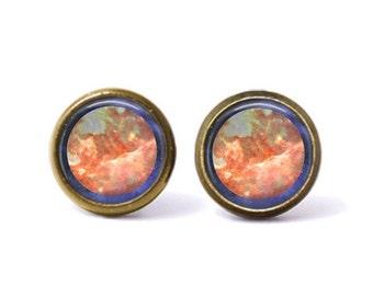 Mars Stud Earrings | Mars Earrings Mars Jewelry Space Jewelry Planet Jewelry Watercolor Galaxy Earrings Astronomy Space Grunge Science