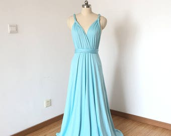 Tiffany Blue Spandex Long Convertible Bridesmaid Dress