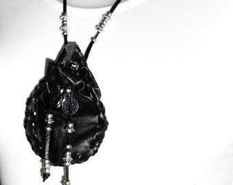 Black vintage pouch, Amulet bag, Leather tribal bag, Drawstring pouch, fringed antique pouch, Leather medicine pouch, Accessory bag