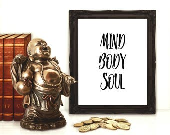 Yoga poster Yoga wall art Zen bathroom decor Zen home decor Zen wall art Yoga studio decor Buddha print Mindfulness Word art