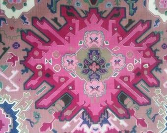 Vintage Bassett McNab Co. Ikat Linen Blend Fabric Remnant Purple Magenta Fuchsia Indigo Mauve Designer To The Trade Home Decor Upholstery
