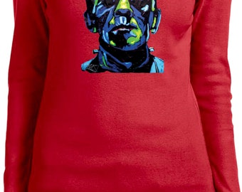 Ladies Frankenstein Face Long Sleeve Tee T-Shirt 20719NBT2-5001