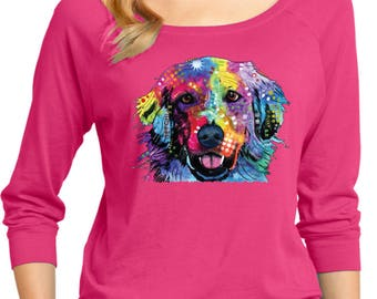 Ladies Neon Golden Retriever 3/4 Sleeve Scoop Neck 20142NBT4-DM482