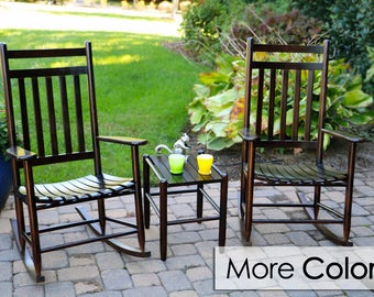 Classic Front Porch Wood Rocking Chair Set with Matching Side Table - Assembled 3pc. Wooden Rocker Set