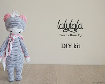 Pink Lalylala Buzz the House Fly - DIY Crochet Kit - Lalylala pattern - DIY Craft - Christmas gift - Gift for girl - Lalylala kit
