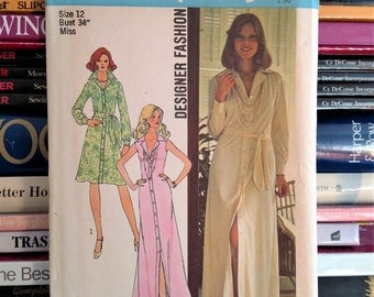 UNCUT 1975 Simplicity Designer Fashion # 6894 Stylish Shirtdress-Maxi-Knee-Length (3 Views)-Tie Belt-Top-Stitched-Size 12-Bust 34