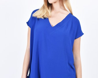 Cobalt blue Blouse v neck shirt  Loose Oversized  top women summer casual clothing short sleeve