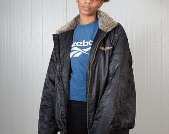 Vintage bomber jacket / Vintage flight jacket / Ladies army bomber jacket / Men's bomber jacket / Oversized jacket / Size XL