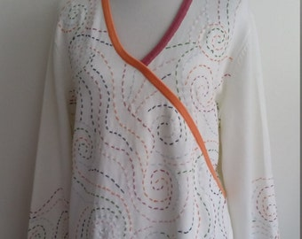 Kimono sweater, L, XL, plus size, white sweater, colorful sweater, embroidered sweater, wrap sweater, cotton sweater
