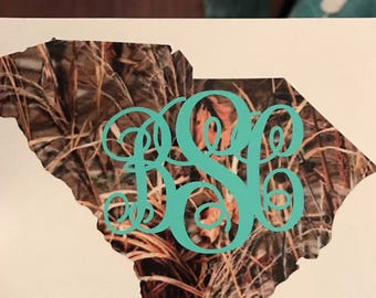 Decal-State Decal-Camo-Camouflage-Car-Truck-Coffee Cup-Rustic-Southern-Hunter decal-Monogram-Monogram Decal-State-Texas-Texas Decal-Pride
