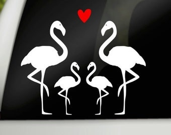 Flamingo family car decal, family car stickers, car window decals, car window stickers, family stickers for cars, car window cling