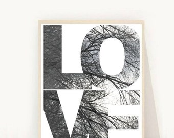 Home and Living, Love, Love Print, Scandinavian Art, Printable Art, Home Decor, Wall Decor, Leaf Print, Modern Wall art, Digital Download