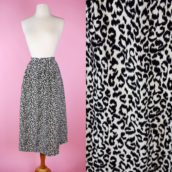 90s, Leopard, Cheetah Print, 80s, Vintage Midi Skirt // 1990s, Black & White, Cream, 1980s, Women Size Small, Medium