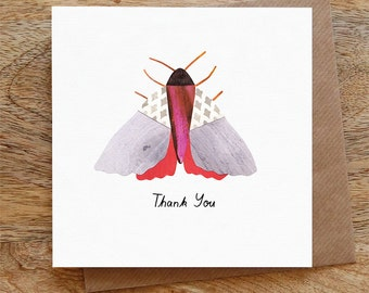 THANK YOU MOTH - Greeting Card, Thank You, Thanks, Moth, Red, Illustrated, Collage