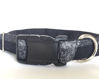 "LARGE - 1"" - Black and Grey Checkered Flannel  - Plastic Parachute Buckle Dog Collar"