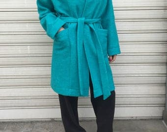 Oversize Green Coat / Cape Coat with Pockets and Belt/ Loose Women Cardigan / EXPRESS SHIPPING