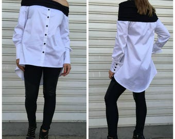Black and White Tunic Top /Oversize  Off Shoulder Shirt / Long Sleeves Cotton Top / Casual Top / EXPRESS SHIPPING / LA1001