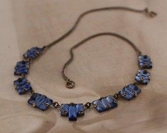 ART DECO Necklace Blue VAUXHALL Glass | Vintage Czech Bohemian 1920s Mirror Glass | Signed Czechoslov