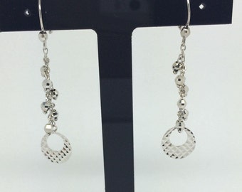 14K White Gold diamond Cut Dangling Earrings