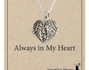 Sterling Silver Antiqued Angel Wings Heart Locket Necklace on Rope Chain
