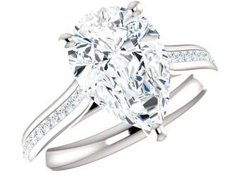 12x8mm (3.50 carat) Pear-Cut Supernova Moissanite & Diamond Channel Set Engagement Ring, Pear Moissanite Rings for Women, Wedding Rings