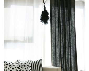 Curtains Ideas black sheer curtain : Shiny Black Sheer Glitter Chiffon Curtain Plain Voile