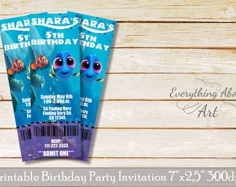 Finding Dory ticket invitation, Finding Dory party, Finding Dory, Finding Dory birthday invitations, Finding Dory theme party, girl's invite