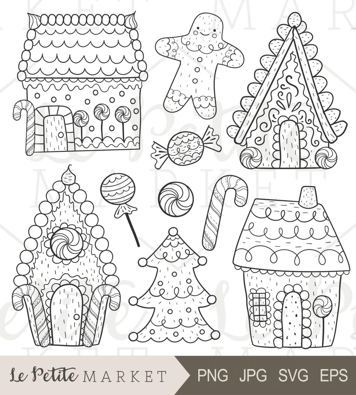 Hand Drawn Gingerbread Clip Art Gingerbread House Clip Art