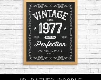 Aged to Perfection Sign - Vintage 1977 Chalkboard Sign - 1977 Sign - 40th Birthday Gift - 16x20 - Instant Download - Printable File