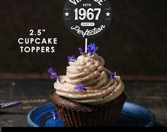 "1967 Vintage Aged to Perfection Cupcake Toppers - 2.5"" Cupcake Toppers - 1967 Cupcake Toppers - 50th Birthday - Printable Instant Download"