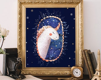 Unicorn printable art, 8x10, Christmas gift, Unicorn decor, nursery art print, Fantasy art print, watercolor print, nursery decor