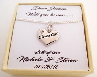 R. Heart Necklace - Will you be our... Bridesmaid or Flower girl bridesmaid gift flower girl gift flower girl thank you bridesmaid thank you