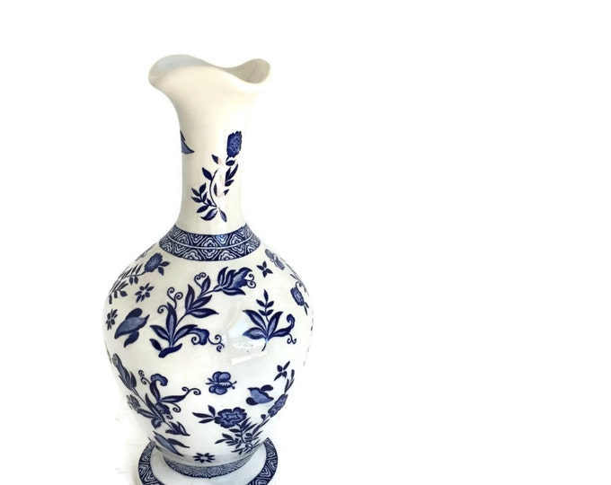 Coalport China Blue and White Vase Made in England