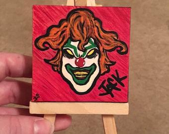 Mini Jack the Clown Painting | Optional Mini Easel Stand | Universal Studios Orlando | Halloween Horror Nights | HHN25 | Halloween Art