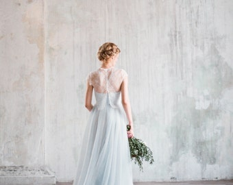 Aley - blue corset wedding gown, boho wedding dress with separate lace jacket with cap sleeves, a-line tulle skirt, milamira, straps