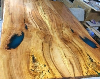 SOLD** Reclaimed Spalted Sugar Maple Live Edge Dining Table with Custom Blue Epoxy Fill and Epoxy Top Coat(Custom order for Marissa and Ian)
