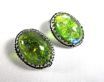 Whiting and Davis Green Stone Clip-On Earrings, Circa 1950s