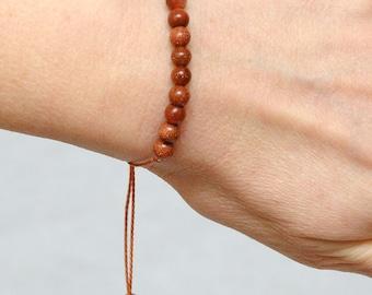 best friend gift Aventurine bracelet Gemstone bracelet Cord Bracelet gemstone bead Thread Bracelet Minimalist bracelet Brown String Bracelet