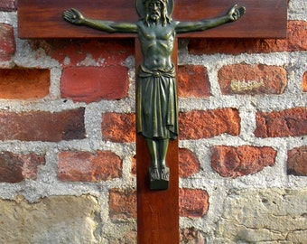 Large Antique Wall CRUCIFIX Wooden Cross, ART DECO Bronze Corpus of Jesus Christ, Religious Relic Catholic Wall Hanging Art