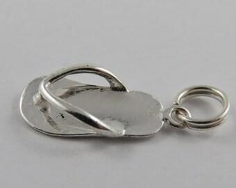 Flip Flop Sterling Silver Vintage Charm For Bracelet