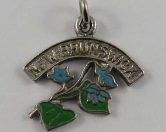 New Brunswick Enamel Flower Sterling Silver Vintage Charm For Bracelet