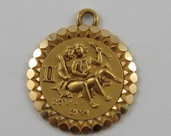 Gemini Twins Zodiac 18K Gold Vintage Charm For Bracelet