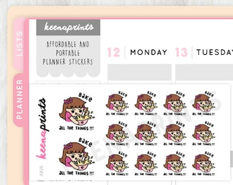 A826 | BAKING Keenachi Emoticon Repositionable Stickers Perfect for Erin Condren Life Planner, ...