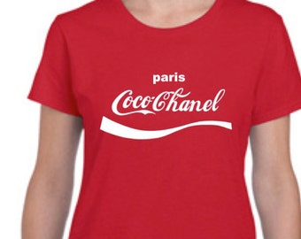 Coco Chanel Red Womens Fitted Crew Neck T Shirt